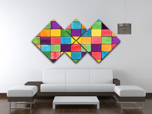 Colorful blocks 4 Square Multi Panel Canvas  - Canvas Art Rocks - 3