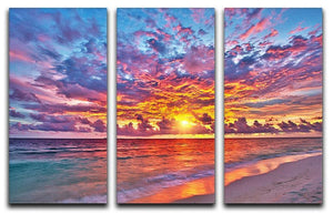 Colorful sunset over ocean on Maldives 3 Split Panel Canvas Print - Canvas Art Rocks - 1