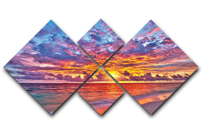 Colorful sunset over ocean on Maldives 4 Square Multi Panel Canvas