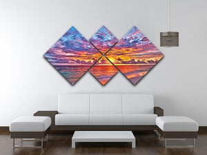 Colorful sunset over ocean on Maldives 4 Square Multi Panel Canvas  - Canvas Art Rocks - 3