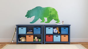 Colourful Bear Silhouette Wall Sticker - Canvas Art Rocks - 1