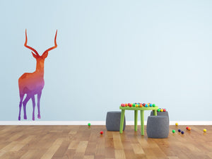 Colourful Deer Silhouette Wall Sticker - Canvas Art Rocks - 1