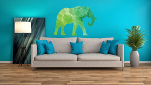 Colourful Elephant Silhouette Wall Sticker - Canvas Art Rocks - 1