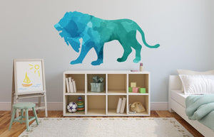 Colourful Lion Silhouette Wall Sticker - Canvas Art Rocks - 1