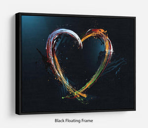 Colourful Love Heart Floating Frame Canvas