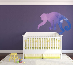 Colourful Monkey Silhouette Wall Sticker - Canvas Art Rocks - 1