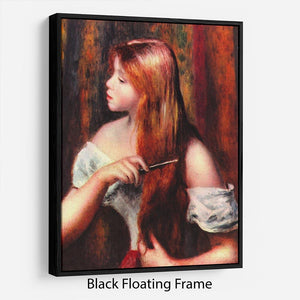 Combing girl by Renoir Floating Frame Canvas