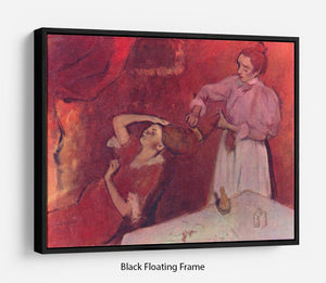 Combing hair by Degas Floating Frame Canvas - Canvas Art Rocks - 1