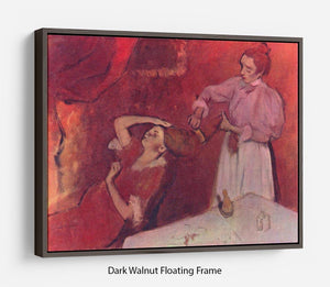 Combing hair by Degas Floating Frame Canvas - Canvas Art Rocks - 5