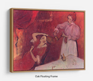 Combing hair by Degas Floating Frame Canvas - Canvas Art Rocks - 9