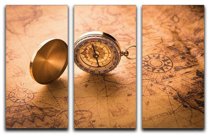 Compass on old map vintage style 3 Split Panel Canvas Print