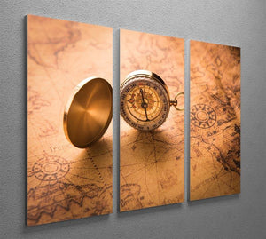 Compass on old map vintage style 3 Split Panel Canvas Print - Canvas Art Rocks - 2