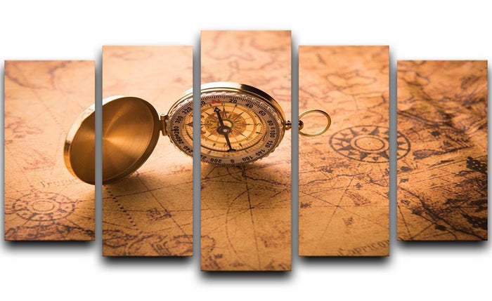 Compass on old map vintage style 5 Split Panel Canvas