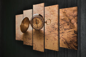 Compass on old map vintage style 5 Split Panel Canvas  - Canvas Art Rocks - 2