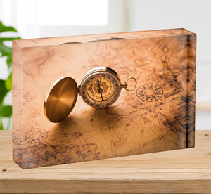 Compass on old map vintage style Acrylic Block - Canvas Art Rocks - 2
