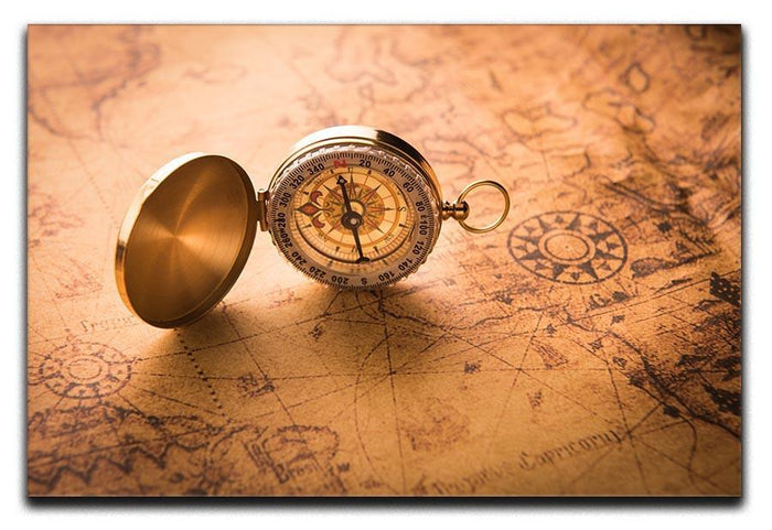 Compass on old map vintage style Canvas Print or Poster