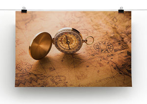 Compass on old map vintage style Canvas Print or Poster - Canvas Art Rocks - 2