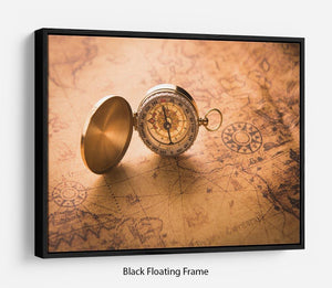 Compass on old map vintage style Floating Frame Canvas