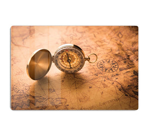 Compass on old map vintage style HD Metal Print