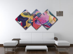 Composition III by Franz Marc 4 Square Multi Panel Canvas - Canvas Art Rocks - 3