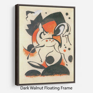 Composition with two deer by Franz Marc Floating Frame Canvas