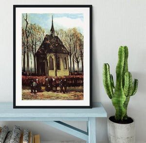 Congregation Leaving the Reformed Church in Nuenen by Van Gogh Framed Print - Canvas Art Rocks - 1