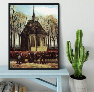 Congregation Leaving the Reformed Church in Nuenen by Van Gogh Framed Print - Canvas Art Rocks - 2