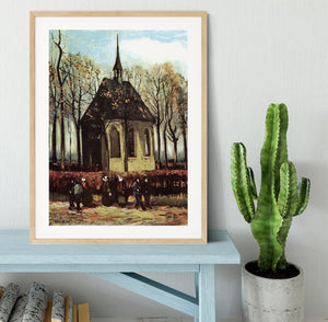 Congregation Leaving the Reformed Church in Nuenen by Van Gogh Framed Print - Canvas Art Rocks - 3