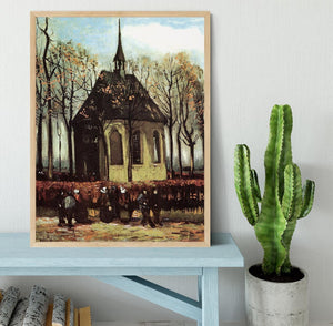 Congregation Leaving the Reformed Church in Nuenen by Van Gogh Framed Print - Canvas Art Rocks - 4
