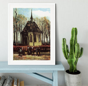 Congregation Leaving the Reformed Church in Nuenen by Van Gogh Framed Print - Canvas Art Rocks - 5