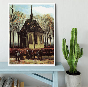 Congregation Leaving the Reformed Church in Nuenen by Van Gogh Framed Print - Canvas Art Rocks -6