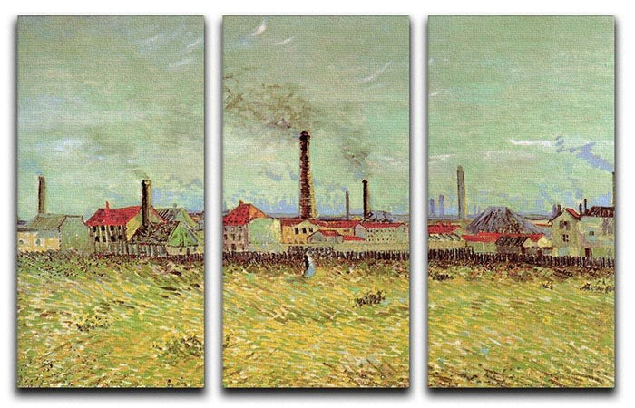 Corner of Voyer d Argenson Park at Asnieres 2 by Van Gogh 3 Split Panel Canvas Print