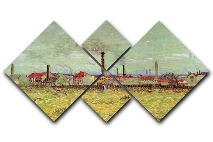 Corner of Voyer d Argenson Park at Asnieres 2 by Van Gogh 4 Square Multi Panel Canvas