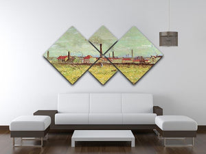 Corner of Voyer d Argenson Park at Asnieres 2 by Van Gogh 4 Square Multi Panel Canvas - Canvas Art Rocks - 3