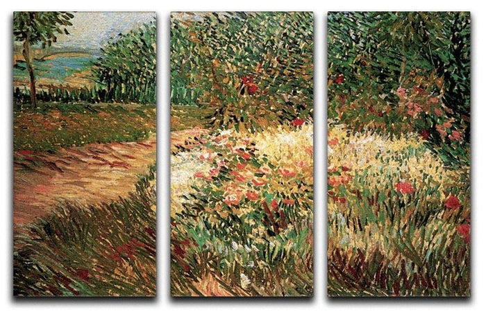 Corner of Voyer d Argenson Park at Asnieres by Van Gogh 3 Split Panel Canvas Print