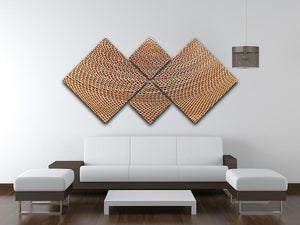 Corrugated cardboard abstract 4 Square Multi Panel Canvas  - Canvas Art Rocks - 3