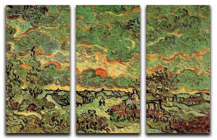 Cottages and Cypresses Reminiscence of the North by Van Gogh 3 Split Panel Canvas Print