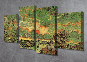 Cottages and Cypresses Reminiscence of the North by Van Gogh 4 Split Panel Canvas - Canvas Art Rocks - 2