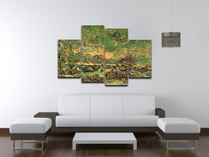 Cottages and Cypresses Reminiscence of the North by Van Gogh 4 Split Panel Canvas - Canvas Art Rocks - 3