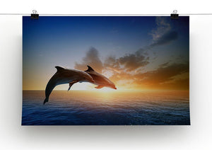 Couple jumping dolphins Canvas Print or Poster - Canvas Art Rocks - 2