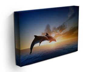 Couple jumping dolphins Canvas Print or Poster - Canvas Art Rocks - 3