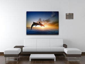 Couple jumping dolphins Canvas Print or Poster - Canvas Art Rocks - 4