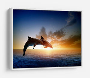 Couple jumping dolphins HD Metal Print