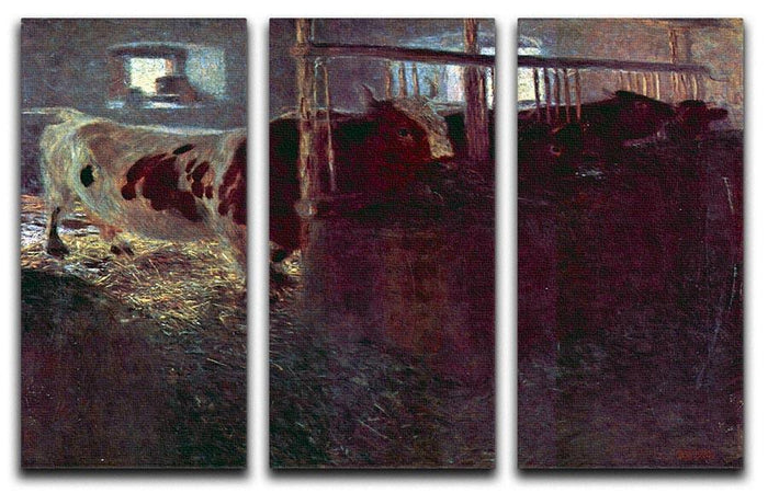 Cows in Stall by Klimt 3 Split Panel Canvas Print