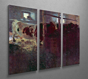Cows in Stall by Klimt 3 Split Panel Canvas Print - Canvas Art Rocks - 2