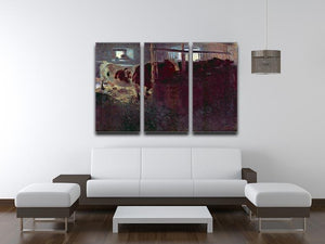 Cows in Stall by Klimt 3 Split Panel Canvas Print - Canvas Art Rocks - 3