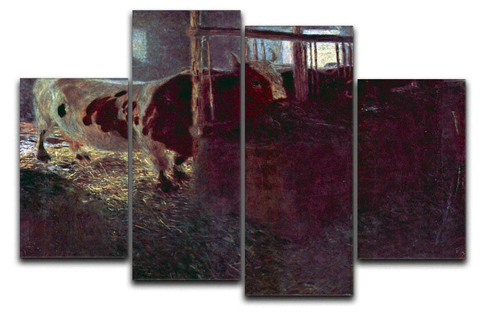 Cows in Stall by Klimt 4 Split Panel Canvas