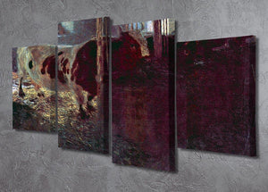Cows in Stall by Klimt 4 Split Panel Canvas - Canvas Art Rocks - 2