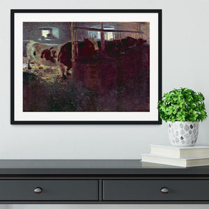 Cows in Stall by Klimt Framed Print - Canvas Art Rocks - 1