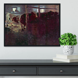 Cows in Stall by Klimt Framed Print - Canvas Art Rocks - 2